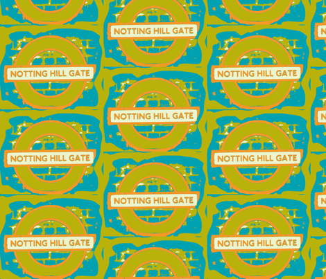 Notting Hill Aqua Orange Chartreuse fabric by bettinablue_designs on Spoonflower - custom fabric