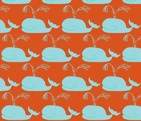 Big Blue Whales ORANGE fabric by bettinablue_designs on Spoonflower - custom fabric