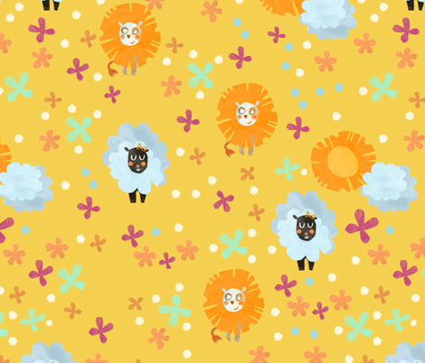 Lion and Lamb  fabric by gsonge on Spoonflower - custom fabric