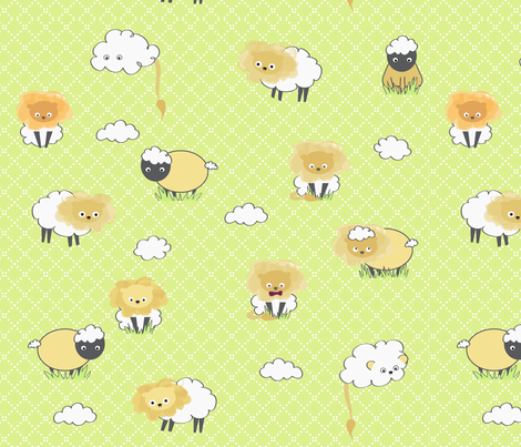 lion_lamb fabric by ittybittycraftster on Spoonflower - custom fabric