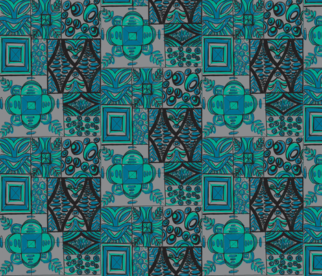 Old School ,Mana Mohala, Lagoon fabric by sophista-tiki on Spoonflower - custom fabric