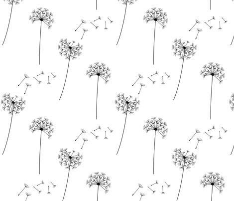 black and white blowing dandelion spores fabric by misstiina on Spoonflower - custom fabric