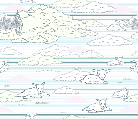 lion-lamb clouds fabric by babysisterrae on Spoonflower - custom fabric