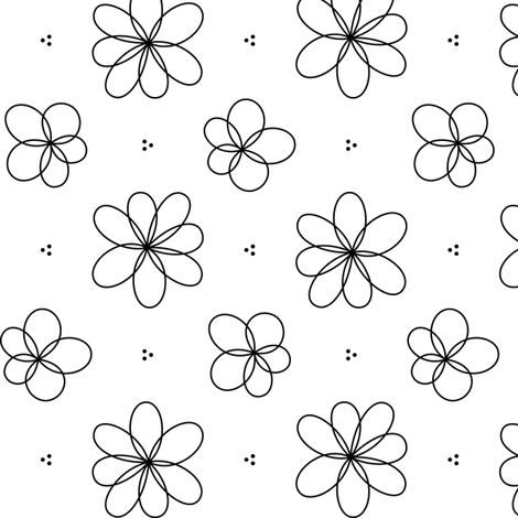 black + white floral fabric by misstiina on Spoonflower - custom fabric