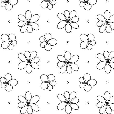 black and white floral fabric by misstiina on Spoonflower - custom fabric