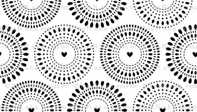 black and white bursting hearts