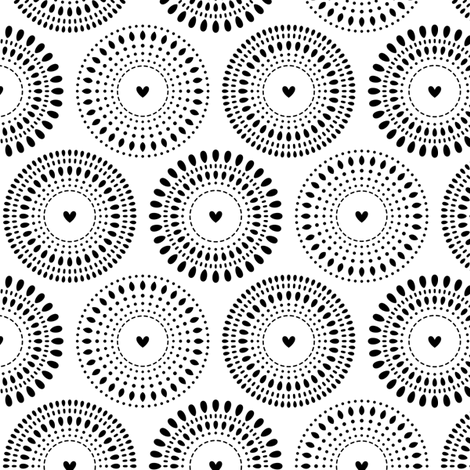 black and white bursting hearts fabric by misstiina on Spoonflower - custom fabric