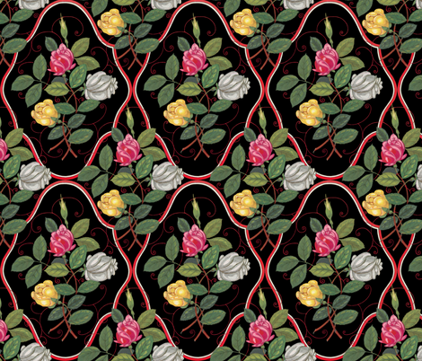 Victorian Rose Ogee fabric by peacoquettedesigns on Spoonflower - custom fabric