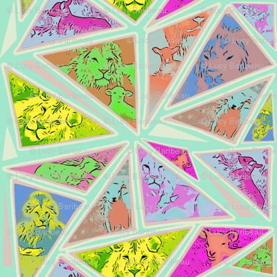 Lion and lamb mosaic