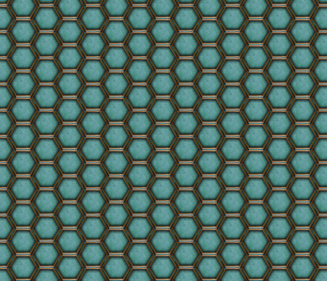 2_inch_HEXes_blue fabric by warmcanofcoke on Spoonflower - custom fabric