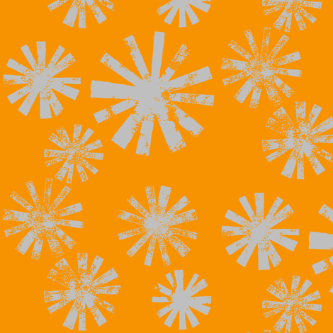 Starburst-gray on orange fabric by cameronhomemade on Spoonflower - custom fabric