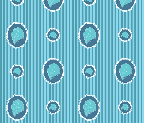 Lion and Lamb (blue) fabric by jila on Spoonflower - custom fabric
