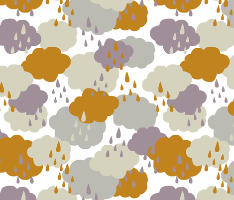 rainy clouds white fabric by katarina on Spoonflower - custom fabric