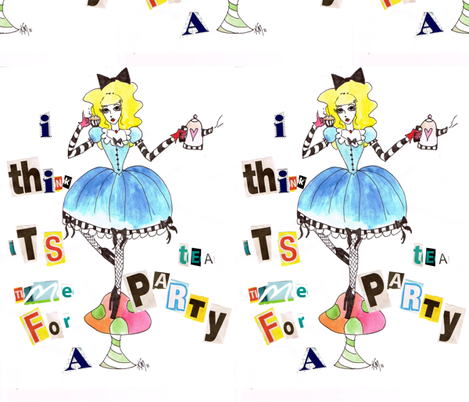 alice_teaparty fabric by scary_kerri on Spoonflower - custom fabric