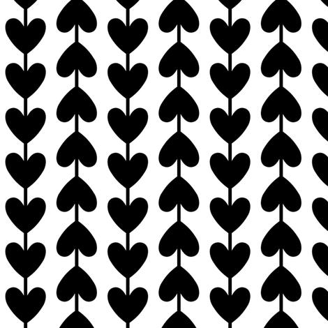black + white vine hearts fabric by misstiina on Spoonflower - custom fabric