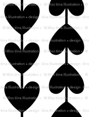 black + white vine hearts