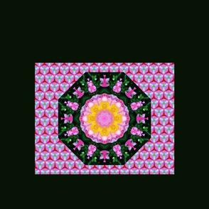 Pink Peony Mandala on Honeycomb