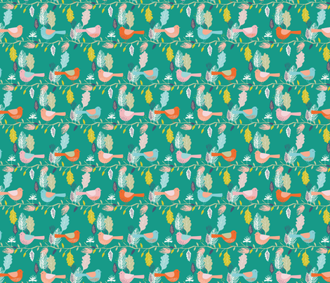 birds in a line fabric by bethan_janine on Spoonflower - custom fabric
