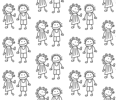 stick people fabric by 23burtonavenue on Spoonflower - custom fabric