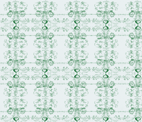 angel of hearts-green- fabric by mjw23 on Spoonflower - custom fabric