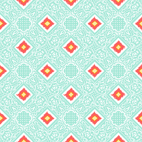 EXOTICO - lagoon + coral fabric by marcador on Spoonflower - custom fabric