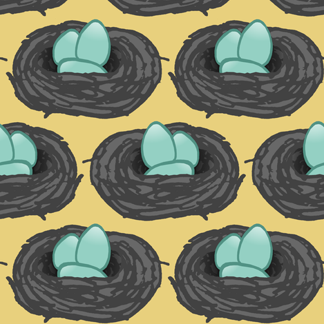 Robin's Nest  fabric by pond_ripple on Spoonflower - custom fabric