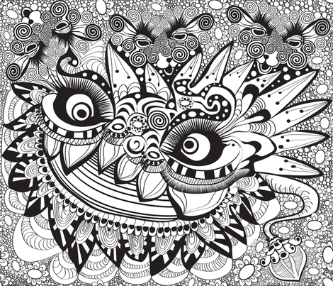 lion-lamb-bw fabric by motyka on Spoonflower - custom fabric