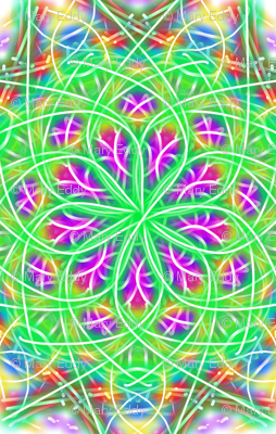 spinning purple and green ;
