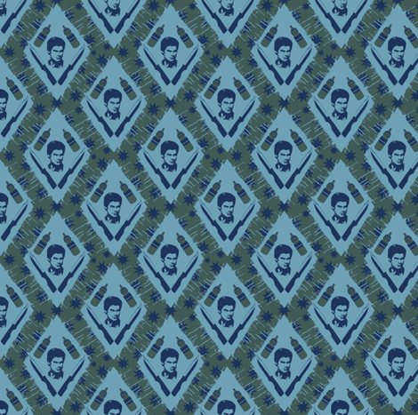 Dexter`s tools green and blue fabric by susiprint on Spoonflower - custom fabric