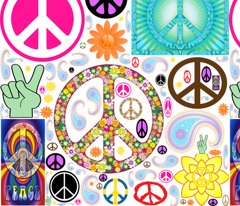 Peace_Collage fabric by lorileidig on Spoonflower - custom fabric