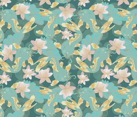 koi and lotus fabric by kociara on Spoonflower - custom fabric