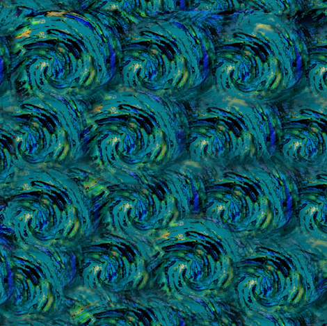 Dark Teal Starry Night from Van Gogh's Painting fabric by bohobear on Spoonflower - custom fabric