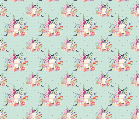 Beehive and blackbirds fabric by sarahsummersillustration on Spoonflower - custom fabric