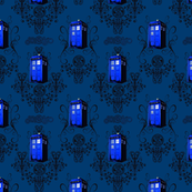 Small and dark TARDIS Travels Damask