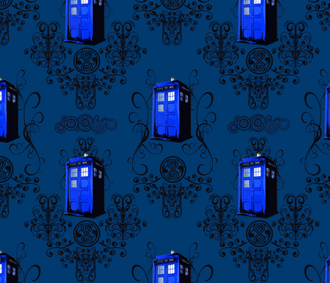 TARDIS Travels in Blue fabric by fentonslee on Spoonflower - custom fabric