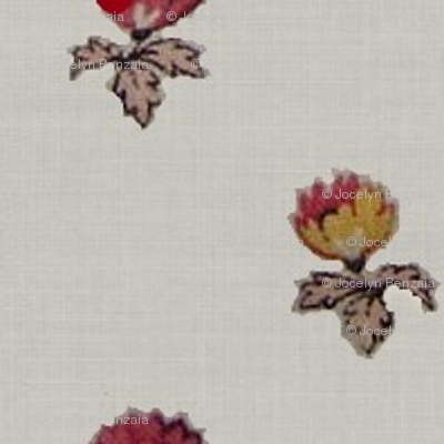 Cream with red and yellow flowers