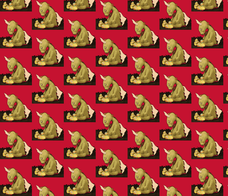 Dragon by Jan Shackelford. In RED fabric by janshackelford on Spoonflower - custom fabric