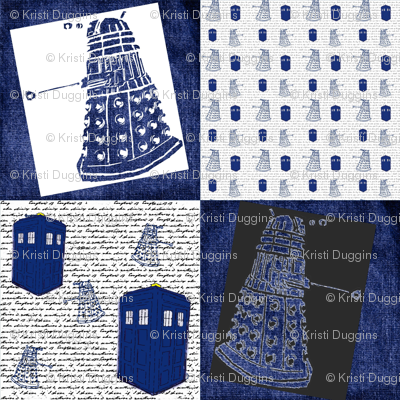 Whovian Inspired Large Quilt Blocks