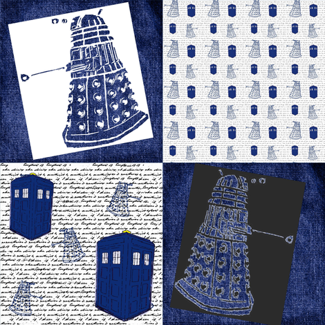 Whovian Inspired Large Quilt Blocks fabric by bohobear on Spoonflower - custom fabric