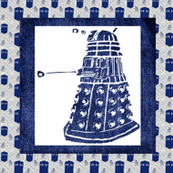 Doctor Who Inspired Dalek on Denim (Large Quilt Block)