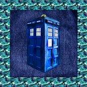 Whovian Inspired Police Box on &quot;Denim&quot; (Large Quilt Blocks)