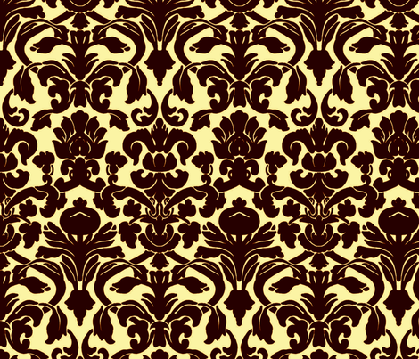Damask_Brown_&_Cream fabric by nola_original on Spoonflower - custom fabric