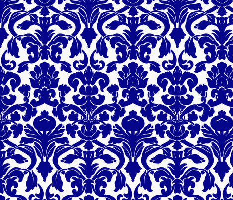 Damask_Cobalt_Blue fabric by nola_original on Spoonflower - custom fabric