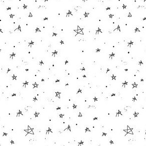 Classic Black and White Star Doodles
