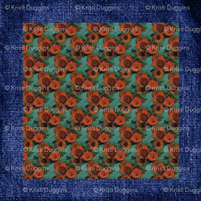 "Van Gogh's Sunflowers on ""Denim"" Cheater Quilt Blocks"
