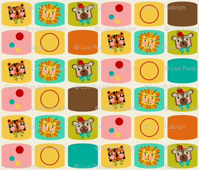 Circus Blocks ~ on vanilla (brown, orange and blue)