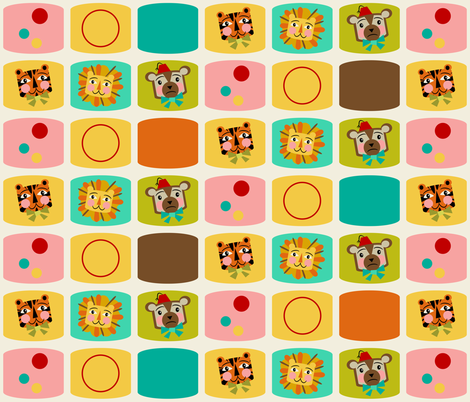 Circus Blocks ~ on vanilla (brown, orange and blue) fabric by retrorudolphs on Spoonflower - custom fabric
