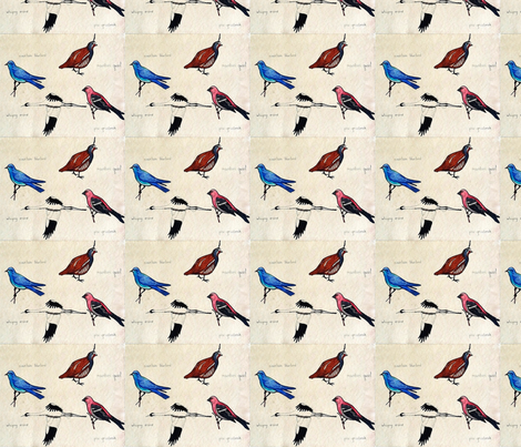 Four Rocky Mountain Birds fabric by vanillabeandesigns on Spoonflower - custom fabric