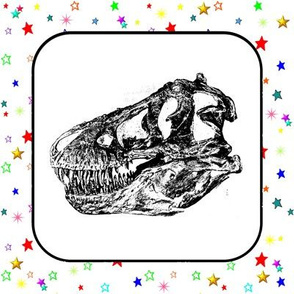 T-Rex Skull Rainbow Stars (Giant Quilt Blocks)