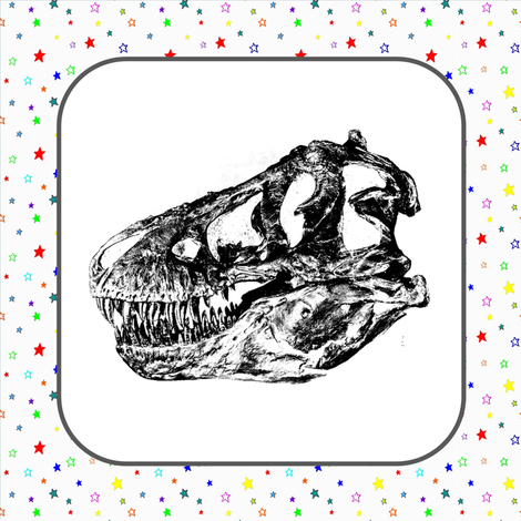T-Rex Skull Rainbow Stars (Giant Quilt Blocks)
